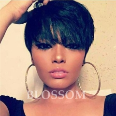 Pixie Cut Short Human Hair Lace Wigs Glueless Lace Front 100 Human Hair Wigs for African Americans #1b average