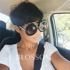 Short Pixie Cut Wigs Perruque Cheveux Humain Full Lace Short Brazilian Human Hair Wigs with Bangs #1b average