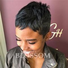 Cheap Straight Human Hair Wigs Pixie Cut Brazilian Hair Glueless None Lace Hair Wigs for Black Women #1b average