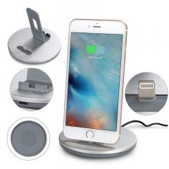 Lightning Phone Charging Holder Tablet Desktop Stand Dock Station for iphone 6 6plus 5s 5c silver 10*5*10