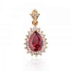 Necklace Zirconia Charm Gold/Silver Color Trendy Crystal Necklaces & Pendants Women Jewelry red pendant