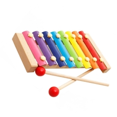 Xylophone Hand Knocks for Kids Multi-color 8 Notes Wooden Musical Toys Instrument and 2 Mallets As picture One size