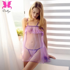 Hosiery Embroidery Lingerie Pillow Skirt purple free size