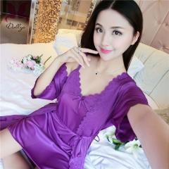 Sexy Silky Temptation Pajamas Bathrobe Perspective Set shallow purple free size