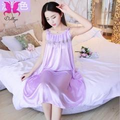 Temptation suit dress skirt lace transparent ice silk underwear shallow purple free size