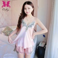 Embroidery Lace Silk Sling Short Pants Pajamas pink m