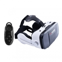 VR Boss Virtual Reality 3D Glasses with Headphone Microphone With controller white one size one size