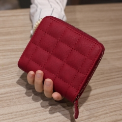 New Design Fashion Lady Bags Luxury Mini Folding Contracted Women's Zipper Wallets Red One Size