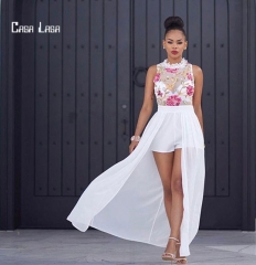 Casa Lasa New Arrival Sexy Chiffon womens dress with See-through Embroid for Ladies Fashion White S