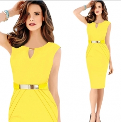 Casa Lasa Women Elegant Pencil Dress V Collar Sleeveless Hollow out with Metal Belt for OL Ladies Yellow s