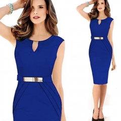 Casa Lasa Women Elegant Pencil Dress V Collar Sleeveless Hollow out with Metal Belt for OL Ladies Blue s