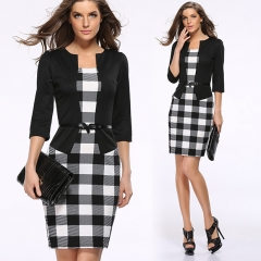 Women Elegant Office Lady Skinny Slim Fashion Hip Package Pencil Dress  3 quarter sleeve with Belt black m