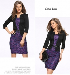 Casa Lasa Elegant Women Dress Slim Skinny Pencil Skirt Package Hip Office Lady Skirt with Belt Purple Floral l