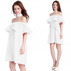 Women Fashion Sexy Boat Neck Shoulder Short Lady Dress Flounce Skirt with Belt Girl Cute Party Dress White free size