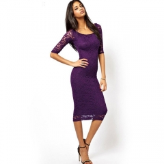 Women Elegant Lace Dress Sexy Lady Slim Skinny Skirt Round Collar  Pencil Dress Hip Package Fashion purple s
