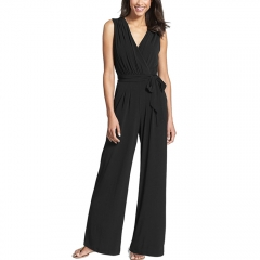 Casa Lasa Women High Waist Jumpsuit Elegant Office Lady Wide Leg Suit Sleeveless Rompers Lady Dress Black S