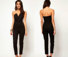 Women Tube Jumpsuit Elasticity Straight Legged Trousers Bompers with Zipper on back Lady Dress black s