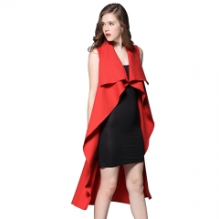 Casa Lasa Women Sleeveless Lapel Windcheater Fashion Dress Belted in back Lady Elegant Clothes Red s