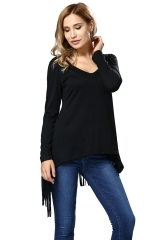 Casa Lasa Women Fashion Casual Long Sleeve Shirt Top with Fringe Deep V Neck Lady Dress black s