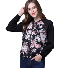 Casa Lasa Women Spring Floral Print Coat Girl Black Jacket with Zipper Popualr Female Baseball Cloth Black with Floral S