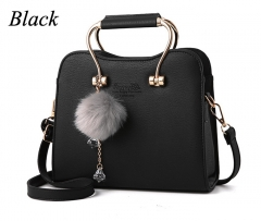 Womens Fashion Leather Handbag with Pom Pom with metal handle shoulder Bag Small Fragrant Bag Black One Size