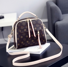Women Classic Old Flower Print Square Handbag Lady Fashion Shoulder Zipper Bag Brown one size
