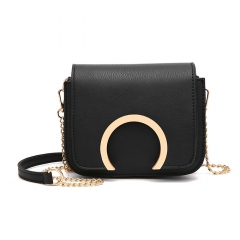 Women Metal Ring Handbag Lady Fashion Shoulder Bag with golden Metal Chain black one size