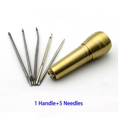 Hoes Repair Kit Sewing Tool Strong Handle Awl Hard Straight Curve Needle with Hook Hole 1 Handle+5 Needles
