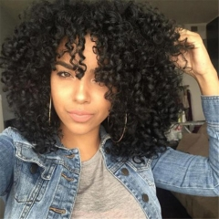 New Fashion Kinky Curly Wig Curly Synthetic Wigs natual Black One size