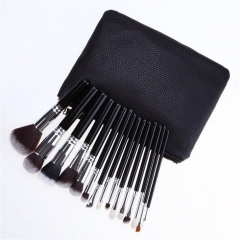 15pcs professional luxury complete makeup brush set bag Black