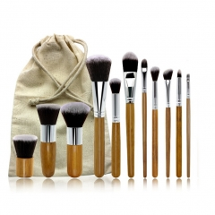 11 Pcs Wool Makeup Brushes Set with Pouch Bag Face Make up Brush Tools Professional As Photo