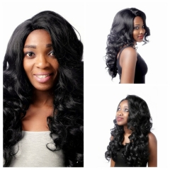 Sexy Women's Long Wave Curly Black Synthetic Hair Cosplay Party Full Wigs + free wig cap black #