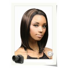 Ladies wigs-Bobo short straight side bangs long hair wigs Christmas gift as photo #