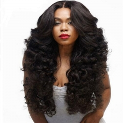 Long Wave Synthetic Wigs for Black Women Black Heat Resistant False Fake Hair black #