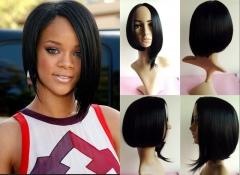 Ladies wigs-Bobo short straight side bangs long hair black women bobo synthetic wigs as photo #