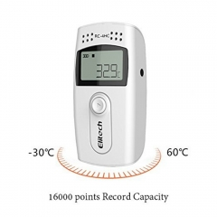 USB Temperature and humidity data logger/ recorder, 16000points Record capacity Temperature recorder gray one size