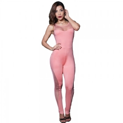 Beauty Garden Sexy Women Jumpsuit  Hollow Out O-neck Backless Tops Bodycon Pants Sexy Club Jumpsuit pink m
