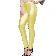 Beauty Garden Sexy Women Pants Solid Bodycon Leggings Hole Sexy Night Club Wear gold m