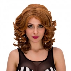 Long Curly Large Waves Brown Hair Roll Wig Caps Brown one size