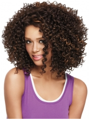 Fashion Short Hair Cut Styles Natural  Kinky Curly Wig, Heat Resistant Synthetic Wig Brown one size