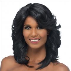 Black Girls Long Hair Wig African High Temperature Wire Mesh Caps Fake Hair Rose balck one size