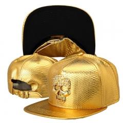 PU Leather Skull Head Logo Baseball caps Diamond Gold Crocodile hip hop hats snapback hat gold one size