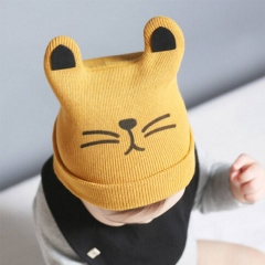 Cartoon Baby Hats Cat Knitted Cap Beard With Ears Winter Warm Newborn Caps red one size
