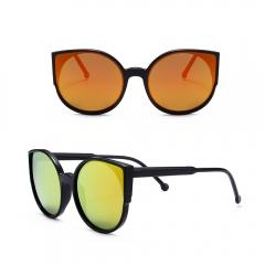 Vintage Round Horned Rim Frame Retro Sunglasses orange 001
