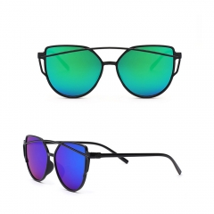 Cat Eye Mirrored Flat Lenses Street Fashion Metal Frame Women Sunglasses green 001