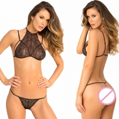 Women Strappy Lingerie Lace Tie-Up Bra and Thong Set Babydolls Halter Sleepwear black all code