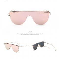 Mirrored Flat Lenses Street Fashion Metal Frame Ocean Film Women Sunglasses pink 001