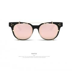 Fashion Steampunk Vintage Retro set flat mirror sunglasses for women men pink 001