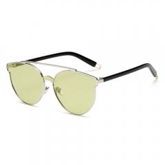 Cat Eye Sunglasses Women Mirrored Lenses Metal UV 400 Fashion Glasses green 001