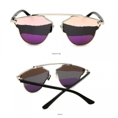 2017 Color Lens Cateye Women Sunglasses Metal Frame For Women purple 001